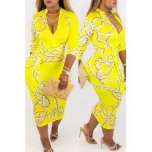 Stylish V Neck Hollow-out Yellow Maxi Dress